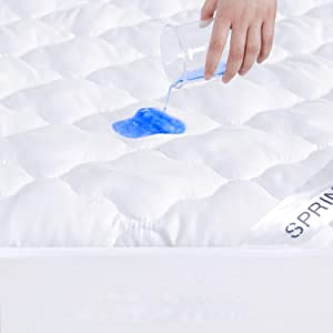 """Springspirit Mattress Protector Waterproof Full XL Size, Breathable & Noiseless Full XL Mattress Pad Cover Quilted Fitted with Deep Pocket up to 12"""" Depth (54""""x 80"""")"""