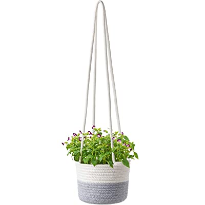 "Dahey Cotton Rope Hanging Planter Woven Plant Basket Indoor Up to 7"" Flower Pot Macrame Indoor Plant Hangers Modern Storage Organizer Home Decor: Garden & Outdoor"