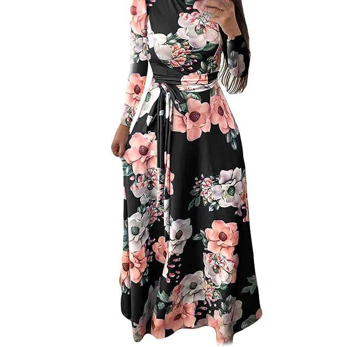 huge discount b80a3 67e45 Longra Kleider Damen Schöne Kleider Lang Herbst Kleider Schwarzes Kleid  Rollkragen Maxikleid mit Blumen Damen Langarm Bodenlanges Langes Kleid ...