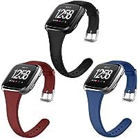 OenFoto Sport Bands Compatible Fitbit Versa/Versa 2 &Versa Lite Edition, Soft Silicone Slim Thin Narrow Small…