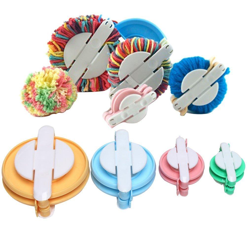 BJ@UK 4 Pieces Pom Pom Maker, Pompom Maker Fluff Ball Weaver DIY Knitting Craft Tool Kit