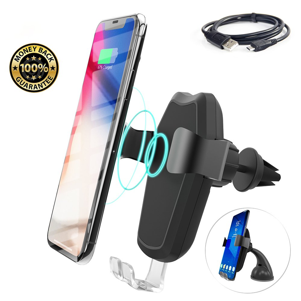 Car Cell Phone Holder, MeanLove Gravity Auto-clamping Air Vent Car Mount Holder with Wireless Charging Function for iPhone X / 8 / 8 Plus , Samsung Galaxy S7/ S7 Edge/ S8/ S8 Plus (New Style)