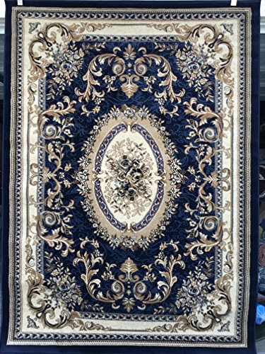 Traditional Aubusson Persian 330,000 Point Area Rug Dark Blue Design #602 (5 Feet 3 Inch X7 Feet 2 Inch ) (Aubusson Traditional Area Rugs)