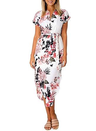ae102e1909 Cindeyar Damen Sommerkleider Kurzarm V-Ausschnitt Lange Kleider Sommer  Elegantes Strandkleid (Blume weiß,