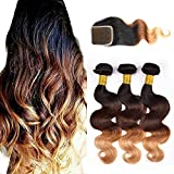 Originea TM 7A Grade Brazilian Ombre Hair Extensions With Free Part Closure Ombre Hair Body Wave 4pcs/lot
