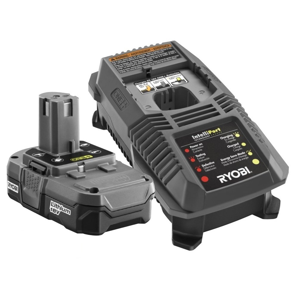 Ryobi P102-P118 18-Volt One Plus ZRP118 Dual Chemistry Battery Charger and 1 ZRP102 Lithium-Ion Battery (Certified Refurbished)