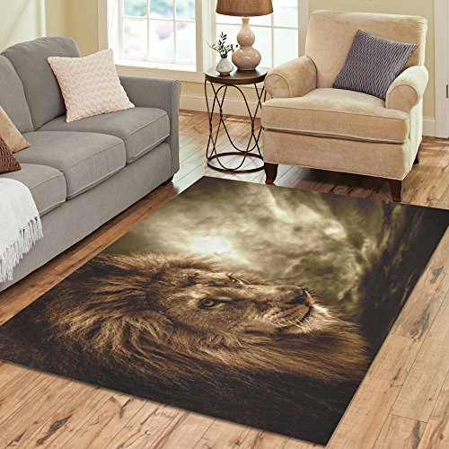 InterestPrint Safari Animal Brown Lion Polyester Area Rug Floor Mat 7' x 5' Feet, African Wildlife Print Throw Rayon Fiber Carpet Rugs for Home Living Dining Room Decoration