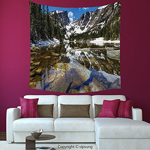House Decor Square Tapestry-Lake House Decor Collection Dream Mirroring Lake At The Mountain Park In West America River Snow Away Photo Green Brow_Wall Hanging For Bedroom Living Room Dorm