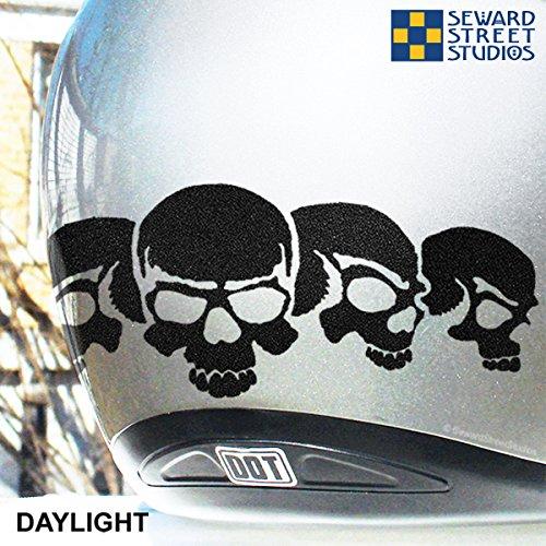 Amazoncom Reflective Decals Skull Set Reflective Skulls - Motorcycle helmet decals graphicsappliedgraphics high visibility reflective motorcycle decals