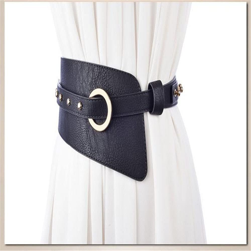 NSSBZZ Birthday Gifts Bright Leather with Waist Seal Fashion Rivet with Skirt Wide Version Lady Belt 105cm2.2cm