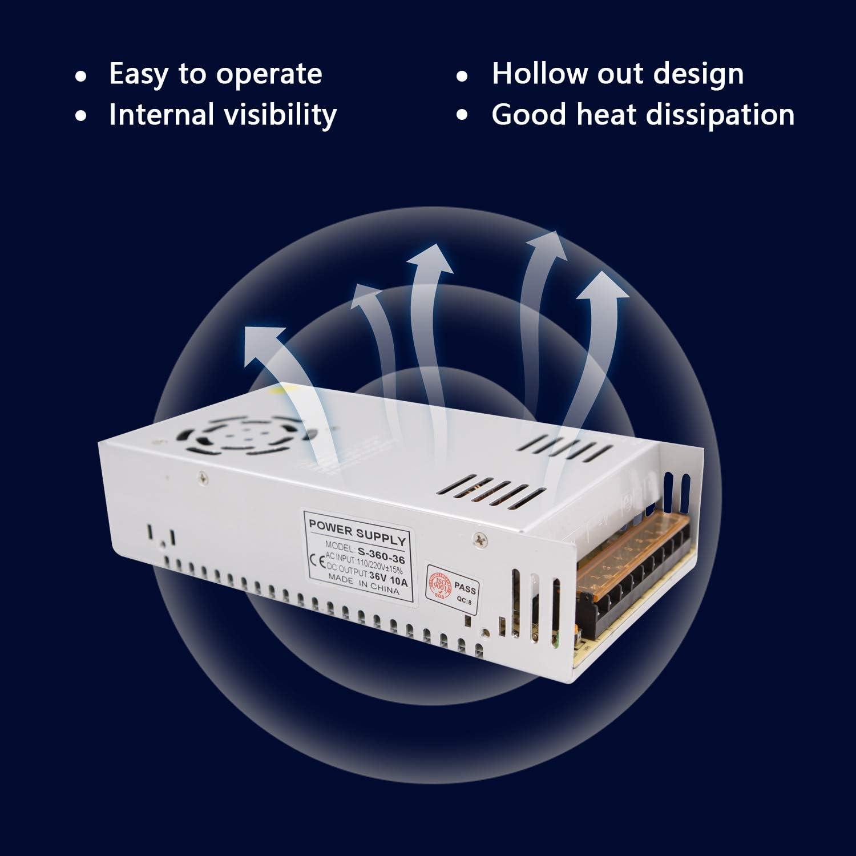 etc. electrodom/ésticos NCL Fuente de alimentaci/ón de 12V 12.5A 150W Transformador Adaptador Universal regulado AC 110V-220V a DC 12V Caja de Aluminio Interior para Equipos electr/ónicos