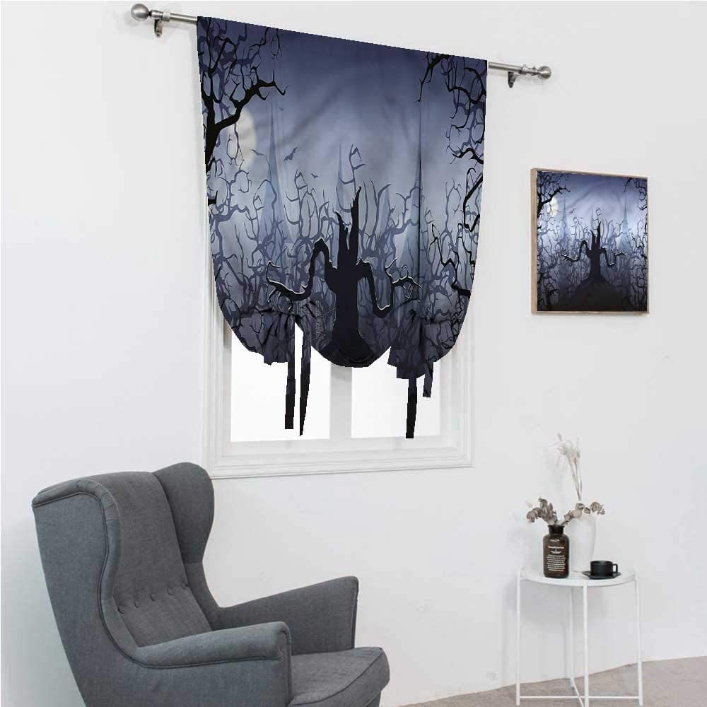"""Roman Shades Halloween Rod Pocket Curtains for Windows Dark Forest with Swirl 39"""" Wide by 64"""" Long"""