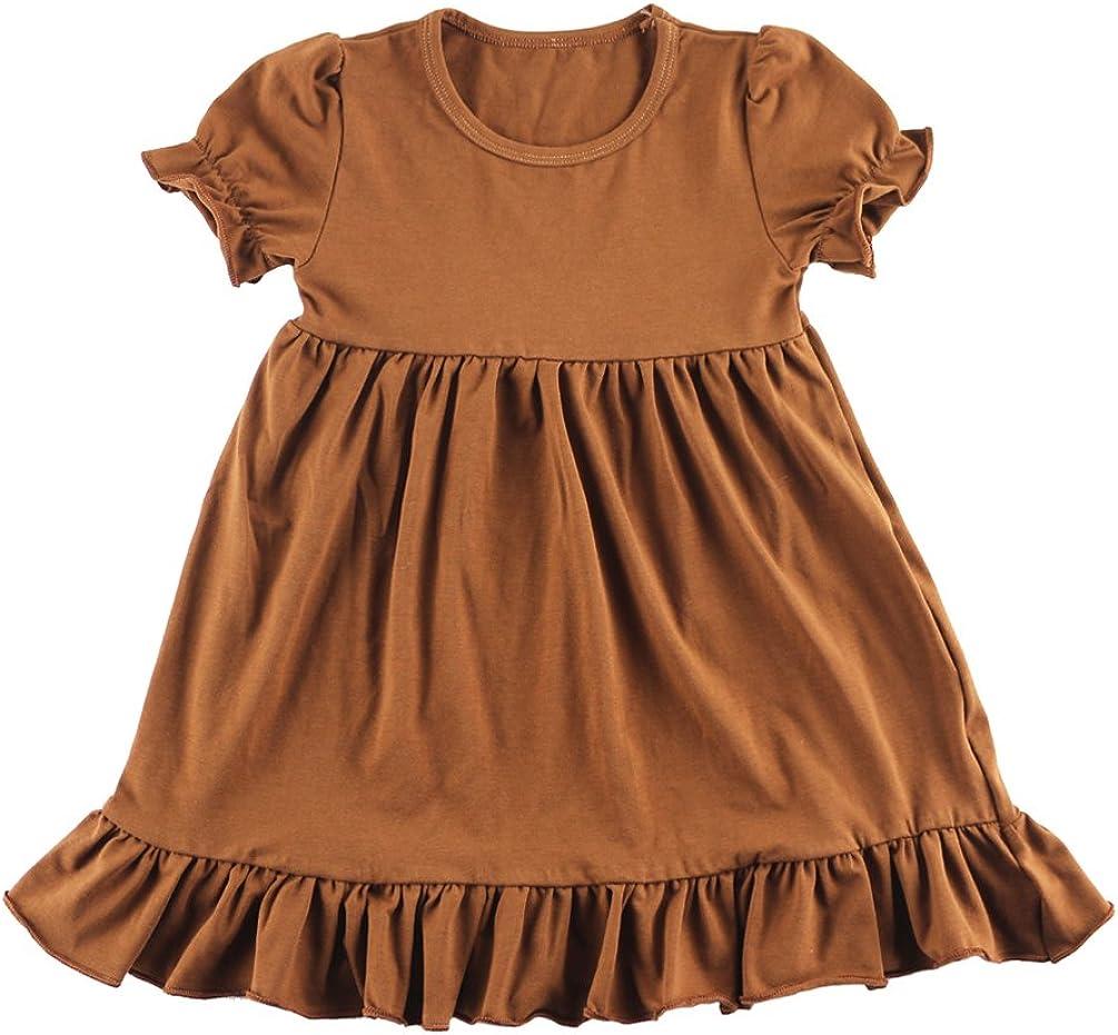 Wennikids Little Baby Girls Short Sleeve Cotton Princess Dress