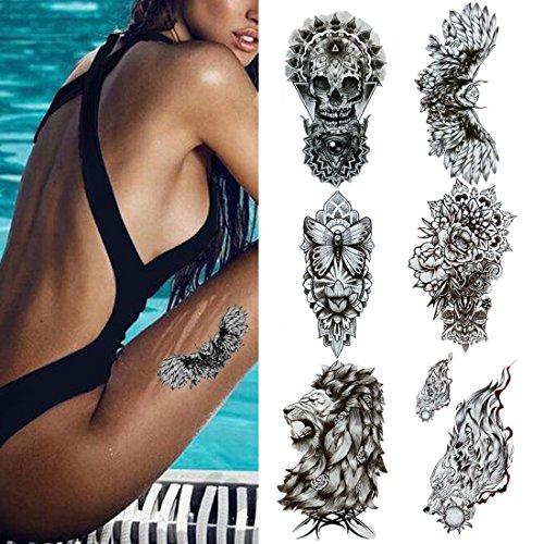 Creamily 6 hojas impermeable Sexy temporales tatuaje adhesivo ...