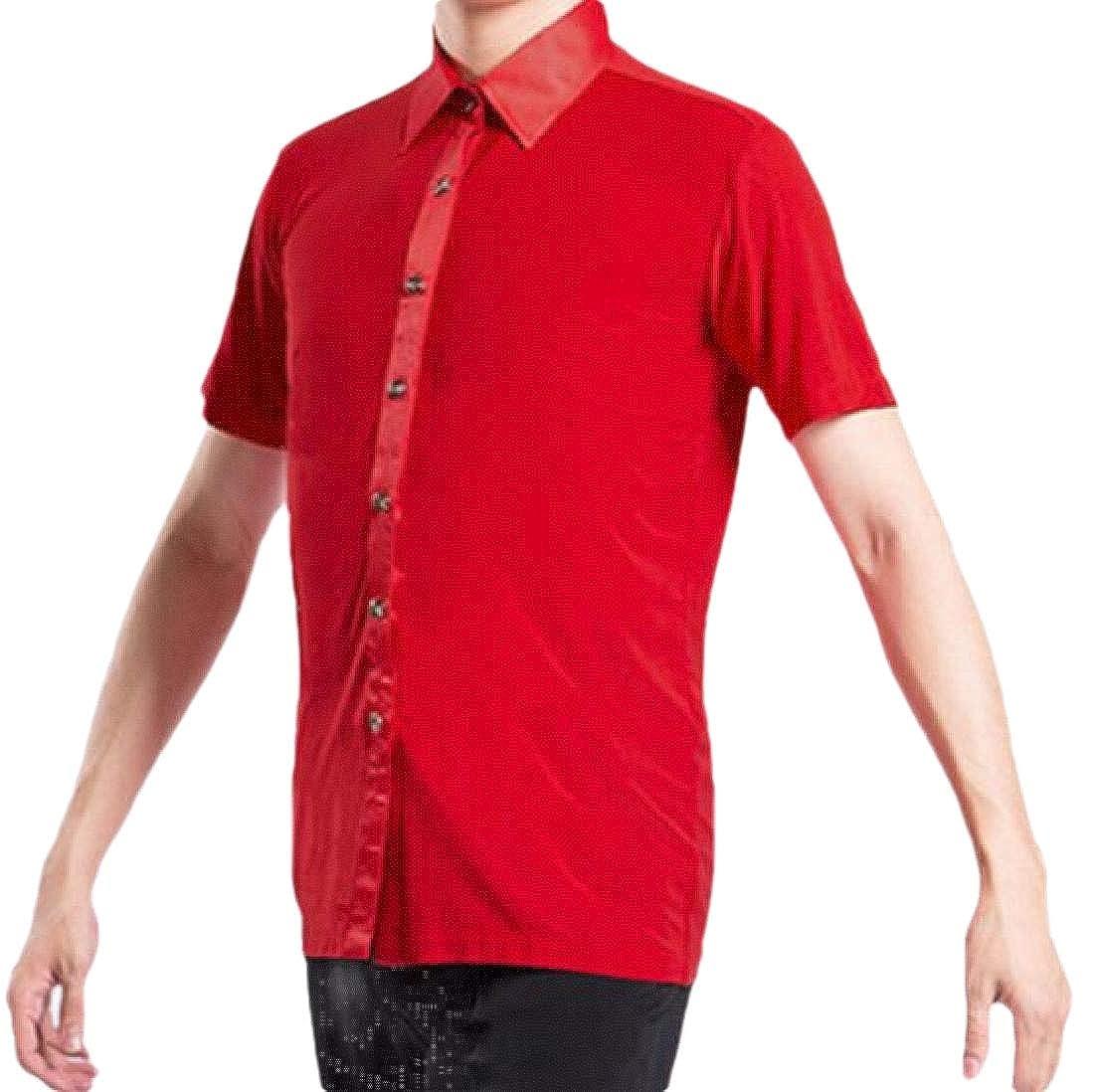 pujingge Mens Slim Fit Dress Shirt Long Sleeve Dance Party Shirt