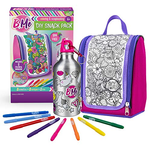 B Me DIY Snack Pack - Color-Your-Own Lunch Bag & Water Bottle Kit for Girls - Arts & Crafts Set w/ BPA-Free Thermos and Keychain, Insulated Lunch Box & 8 Magic Markers - Perfect Birthday & Gift Age 6+