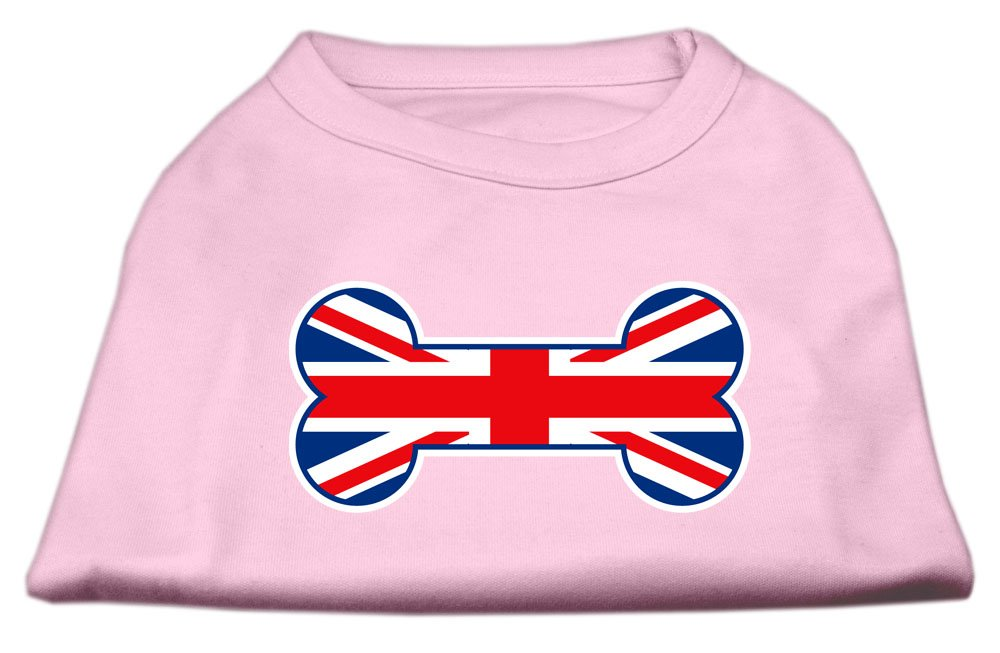 Dog   Cat   Pet Charms Bone Shaped United Kingdom (Union Jack) Flag Screen Print Shirts Light Pink XS (8)