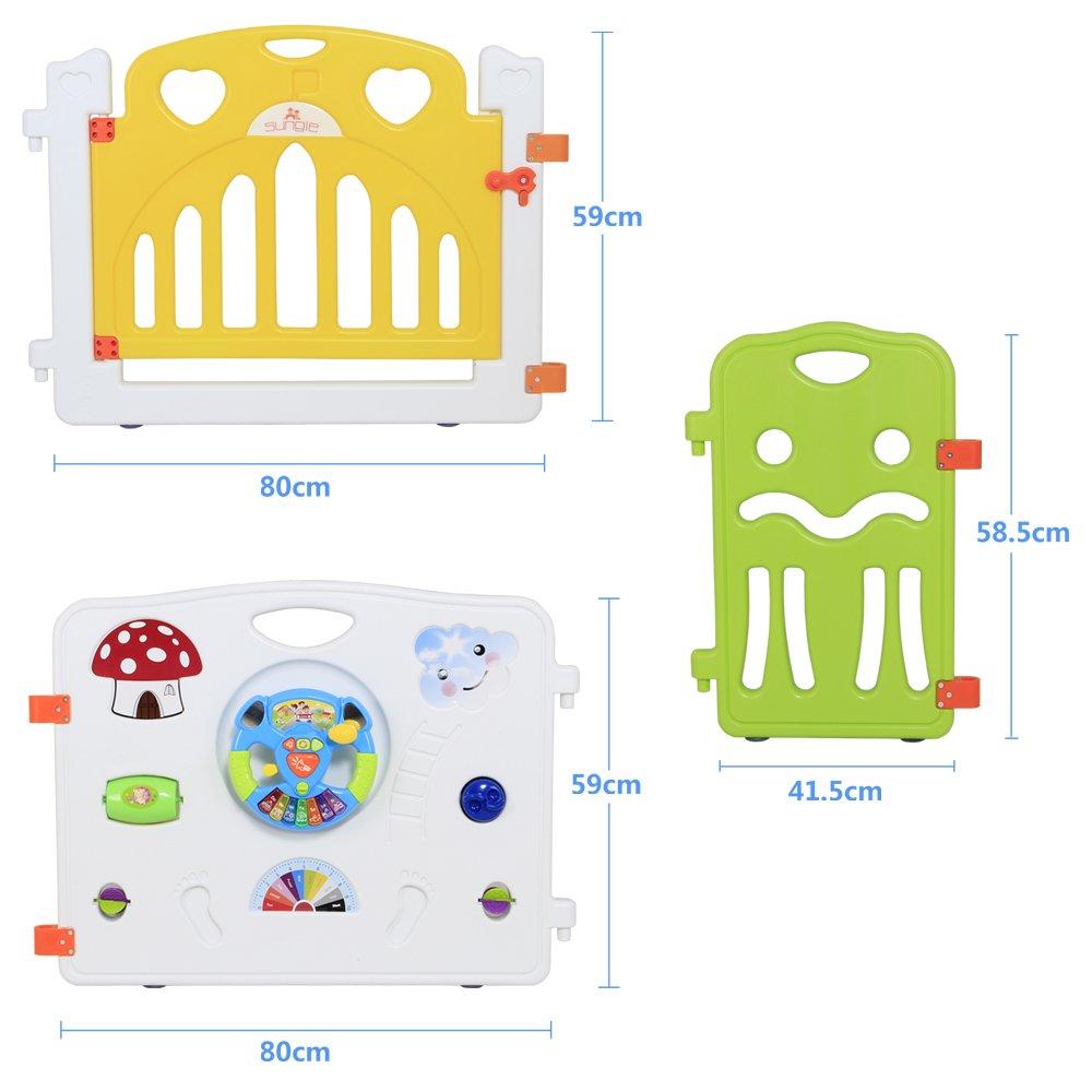 Sungle Parque de bebé con el Juguete Integrado y Volante eléctrico (m 12 Piezas): Amazon.es: Hogar