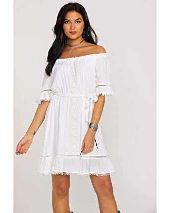915f222772d2 Wrangler Women s Ruffle Peasant Lace Inset Off Shoulder Dress White Small
