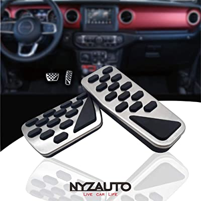NYZAUTO Non-Slip Foot Pedal Pads for 2020 2020 Jeep Wrangler JL,Auto No Drilling Aluminum Brake and Accelerator Pedal Covers: Automotive