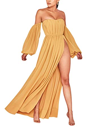 f18b0e3e36bcc UONBOX Women's Long Sleeves Mustard Chiffon Bardot Maxi Dress with Split  Yellow XS