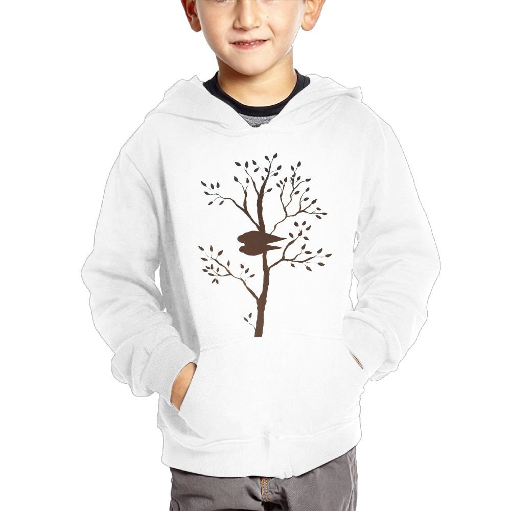 Anutknow Birds In Tree Leafy Branches Painting Childrens Fashion Casual Hooded Pocket Sweater
