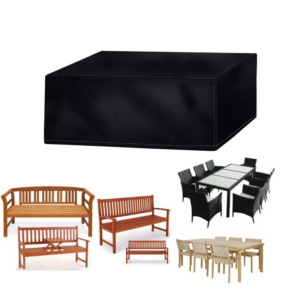 Vzesok Funda Protectora para Mesa y sillas de poliéster Funda de sofá Funda para Conjunto de Porche Rectangular 420D Oxford Negro 170 x 110 x 60cm