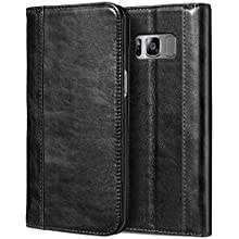 ProCase Galaxy S8 Genuine Leather Case, Vintage Wallet Folding Flip Case with Kickstand and Multiple Card Slots Magnetic Closure Protective Cover for Galaxy S8 -Black