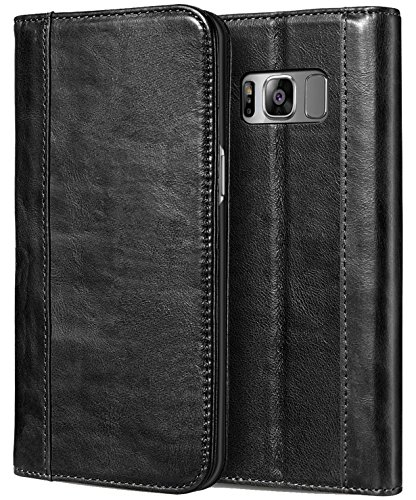 Price comparison product image ProCase Galaxy S8+ S8 Plus Genuine Leather Case, Vintage Wallet Folding Flip Case with Kickstand and Multiple Card Slots Magnetic Closure Protective Cover for Samsung Galaxy S8+ 2017 -Black
