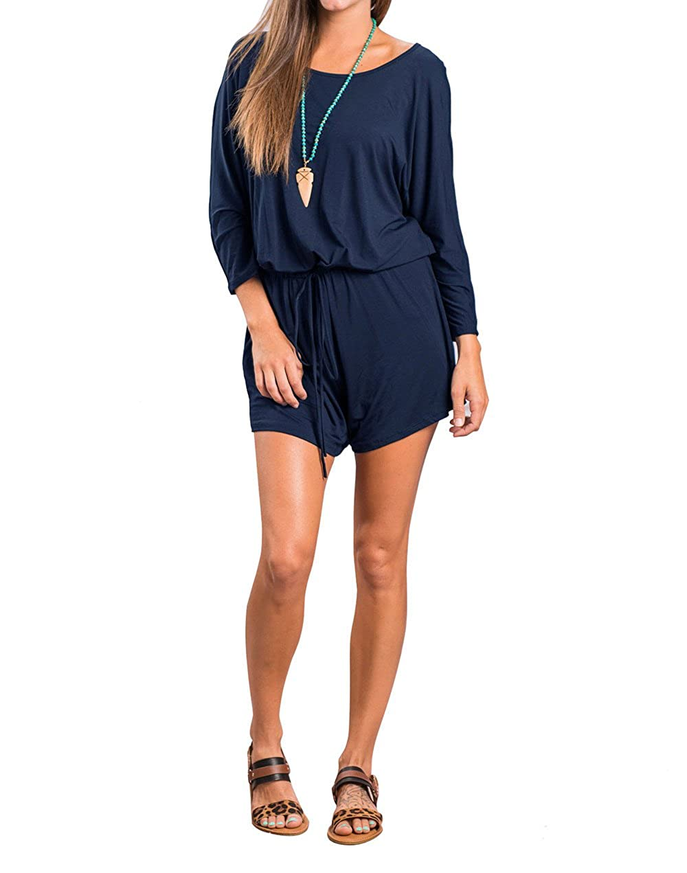 Womens Loose and Comfortable Casual Long Sleeved Siamese pants Pure Colour Jumpsuits(Black//Grey//Blue)