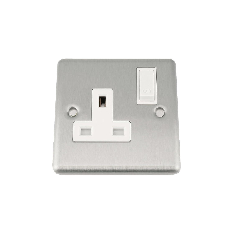 A5 Wall Socket Single 1 Gang - Satin Matt Chrome Classic - White Insert - Plastic Rocker Switch A5 Products