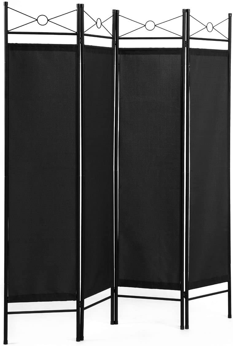 Legendary-Yes 4 Panel Room Divider Privacy Screen Home Folding Partition Metal Frame Fabric Black