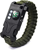 VISUAL KEI Paracord Bracelet Survival Rechargeable Survival Wirst with LED Flashlight,Compass,Emergency Loud...