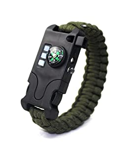 VISUAL KEI Paracord Bracelet Survival Rechargeable Survival Wirst with LED Flashlight,Compass,Emergency Loud Whistle,Laser Infrared Bracelet for Hiking, Camping, Fishing,Climbing (Green)