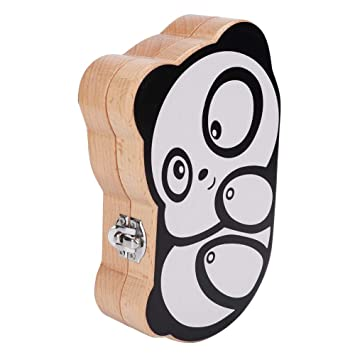 Panda Wood Creative Baby Teeth Box Saver Storage Box Wooden Children Teeth Holder Organize Box Milk Teeth Keepsake for Girls Boys