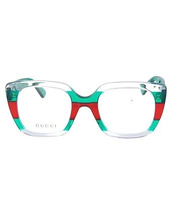 fa9e79ac124 Gucci GG0180O WHITE RED STRIPED GREEN women Eyewear Frames  Amazon.co.uk   Clothing