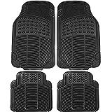 2010 toyota corolla s floor mats - Johns FMR-24 (4pc Set) Black All-Weather Rubber Floor Mats