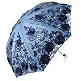 Honeystore Wedding Lace Sun UV Parasol 2 Folding 3D Flower Embroidery Umbrella 2 Fold Blue