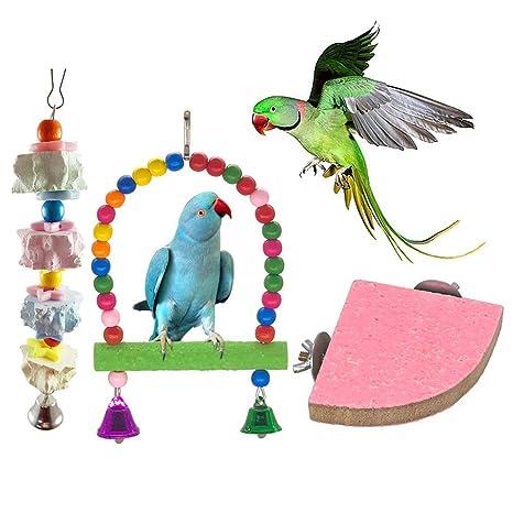 Whiie891203 Juguete para Loros de pájaro, 3 Piezas de Perca para ...