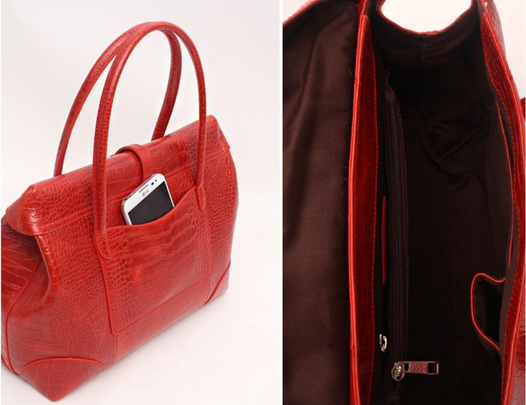Fashion Crocodile Pattern Leather Shoulder Handbag 4 Color (Grey) by PRISTINE&BB (Image #6)