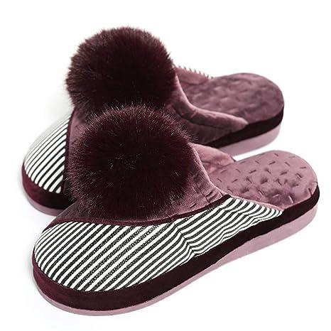 Zapatillas De Algodón Zapatillas Mocasines Invierno Versión Coreana Moda Pelota Femenina Plataforma Antideslizante Fondo Suave Cuña