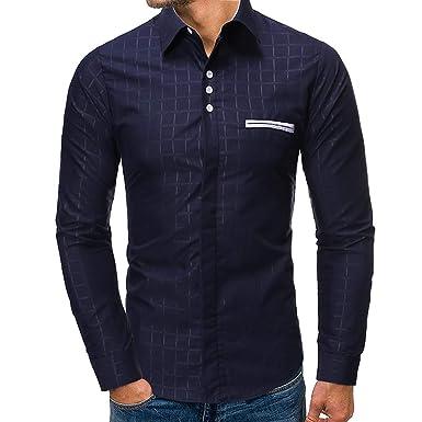 Xmiral - Camisa para Hombre Slim Fit Planchado Fácil Algodón ...