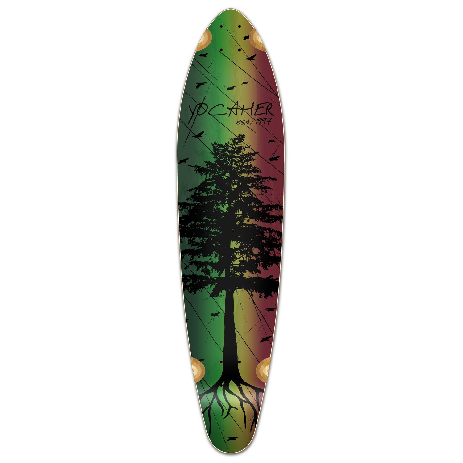 Yocaher in The Pines Rasta Longboard Complete Skateboard – Available in All Shapes