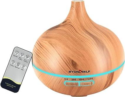 ベッドルーム、ベビールーム、天然木に適した超音波リモコン付き400ML粒スパディフューザーエッセンシャルオイル加湿器、自動安全スイッチとエッセンシャルオイルのディフューザー、