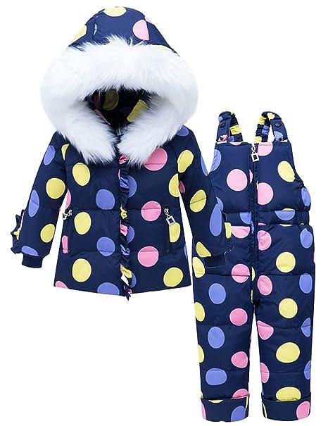 ZOEREA Traje de Nieve para Bebé Niña Puntos Colores Abrigo Chaqueta de Esquí con Capucha y Pantalón Niños Invierno Conjuntos de Ropa 2 Piezas