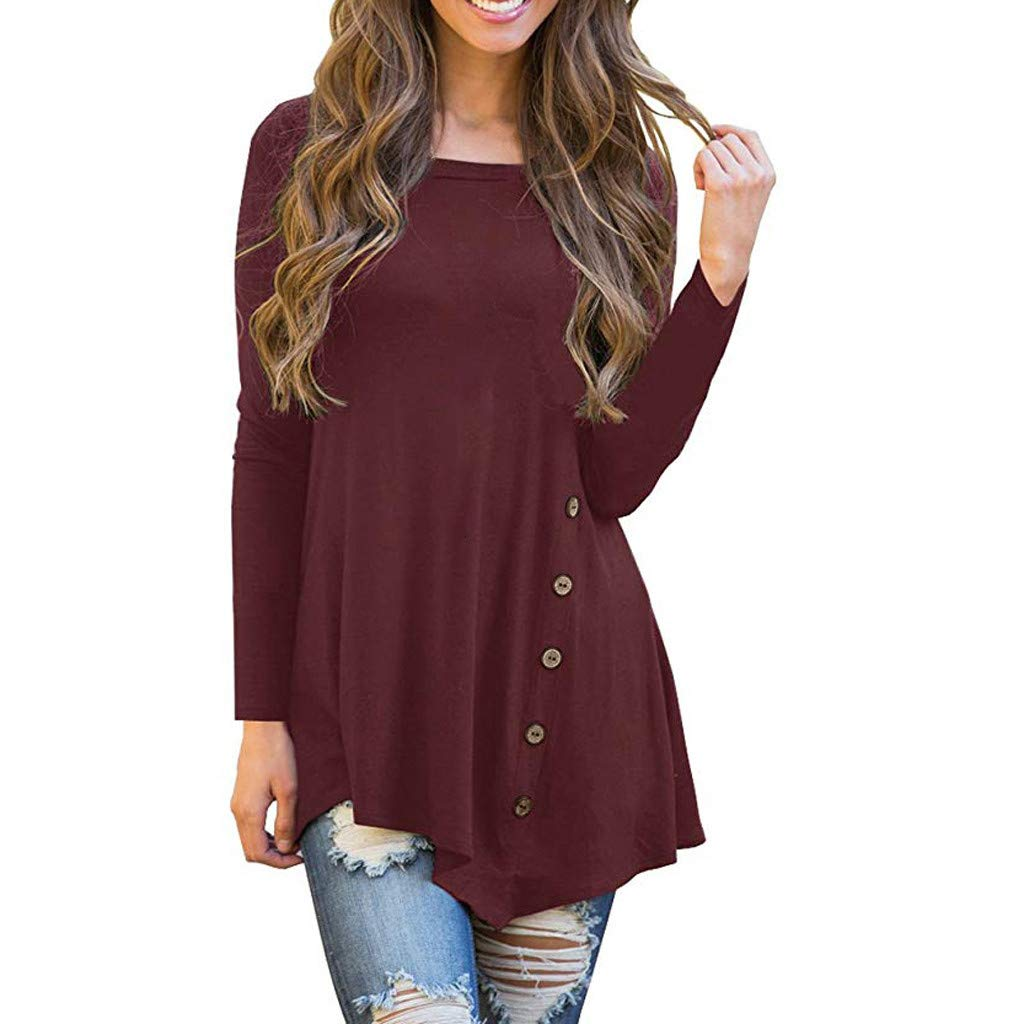 Womens Long Sleeve T Shirt Blouses Plus Size Casual Crew Neck Side Buttons Irregular Tunic Tops Pullover Sweatshirt