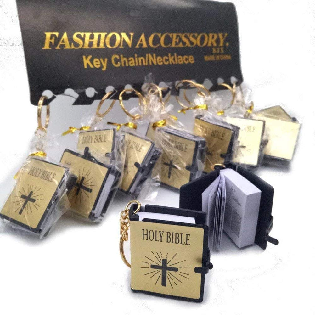 Amor Present Bible Keychain, 12 PCS Miniature Real Bible Key Chains Handbag Pendant Religious Favor Xmas Gift with Magnifying Glass