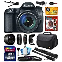 """Canon EOS 70D Digital SLR Camera with 18-135mm STM Lens includes 16GB Memory + 2.2x Telephoto + 0.43x Wide Angle Lens + Hood + UV-CPL-FL Filters + 67"""" Monopod + Photography Guide + Cleaning Kit (16GB"""