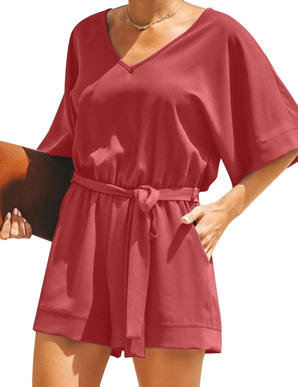 Color : Red, Size : 4XL Moozhitech Rompers for Women Plush Warm Hooded Open Front Long Sleeve Short Pant Jumpsuit Playsuit Tops