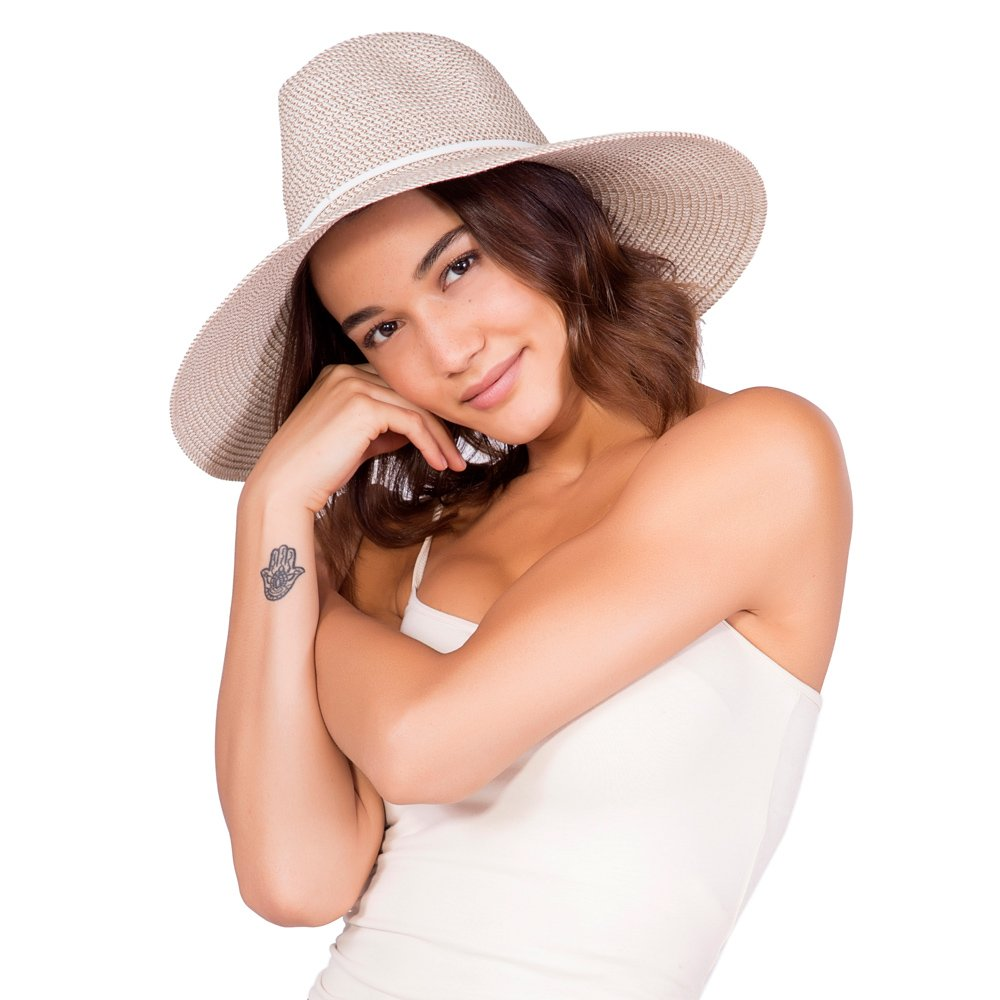 'ale by alessandra Women's Sancho Adjustable Toyo Hat with Leather Trim, White Tweed, Adjustable Head Size by ale by Alessandra (Image #3)